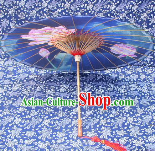 Handmade China Traditional Folk Dance Umbrella Ink Painting Lotus Blue Oil-paper Umbrella Stage Performance Props Umbrellas