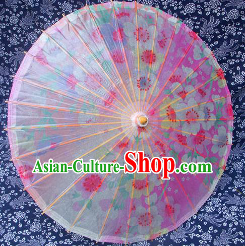 Handmade China Traditional Folk Dance Umbrella Painting Flowers Pink Oil-paper Umbrella Stage Performance Props Umbrellas