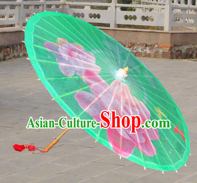 Handmade China Traditional Folk Dance Umbrella Painting Rose Green Oil-paper Umbrella Stage Performance Props Umbrellas