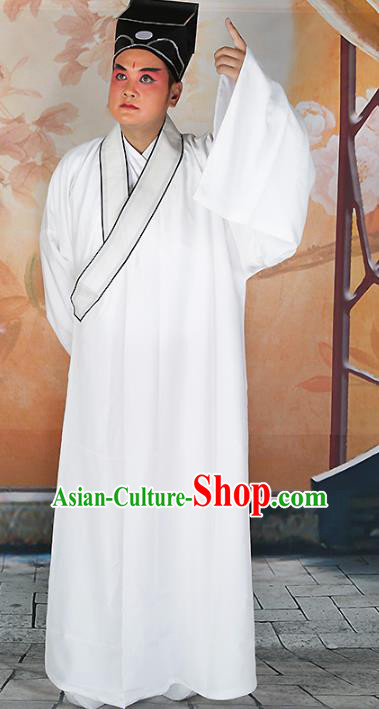 Chinese Beijing Opera Niche Costume White Robe, China Beijing Opera Scholar Clothing