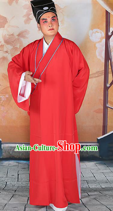 Chinese Beijing Opera Niche Costume Red Robe, China Beijing Opera Scholar Clothing