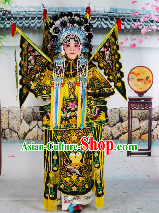 Chinese Beijing Opera Female General Embroidered Black Costume, China Peking Opera Blues Embroidery Clothing