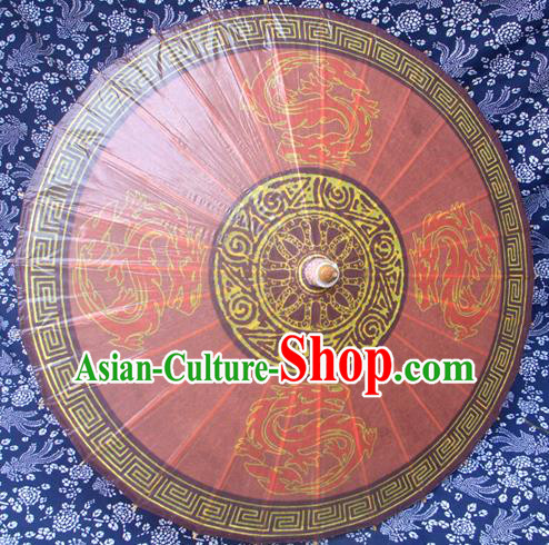 Handmade China Traditional Folk Dance Umbrella Painting Dragons Red Oil-paper Umbrella Stage Performance Props Umbrellas