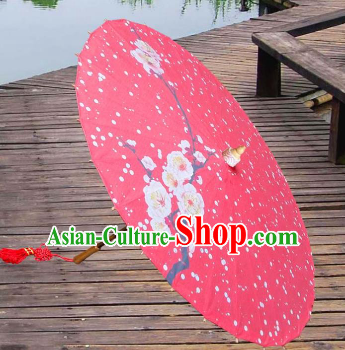 China Traditional Folk Dance Umbrella Hand Painting Plum Blossom Red Wedding Oil-paper Umbrella Stage Performance Props Umbrellas