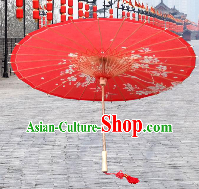 China Traditional Folk Dance Umbrella Hand Painting Flowers Red Wedding Oil-paper Umbrella Stage Performance Props Umbrellas