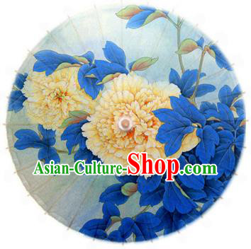 China Traditional Folk Dance Umbrella Hand Painting Peony Flowers Blue Oil-paper Umbrella Stage Performance Props Umbrellas