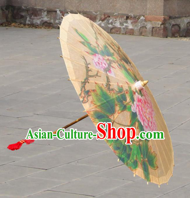 China Traditional Folk Dance Paper Umbrella Hand Painting Peony Flowers Oil-paper Umbrella Stage Performance Props Umbrellas