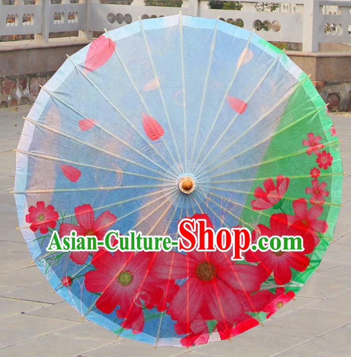 China Traditional Folk Dance Paper Umbrella Hand Painting Flowers Blue Oil-paper Umbrella Stage Performance Props Umbrellas