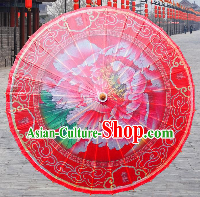 China Traditional Folk Dance Paper Umbrella Hand Painting Peony Wedding Red Oil-paper Umbrella Stage Performance Props Umbrellas