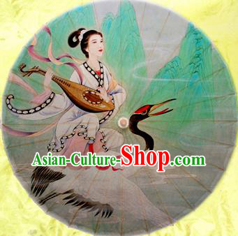 China Traditional Folk Dance Paper Umbrella Hand Painting Fairy Crane Oil-paper Umbrella Stage Performance Props Umbrellas