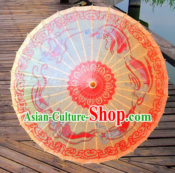 China Traditional Folk Dance Paper Umbrella Hand Painting Fairy Yellow Oil-paper Umbrella Stage Performance Props Umbrellas