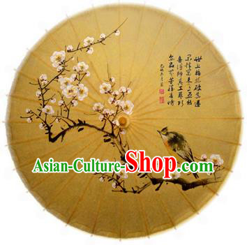 China Traditional Folk Dance Paper Umbrella Hand Painting Peach Blossom Bird Oil-paper Umbrella Stage Performance Props Umbrellas