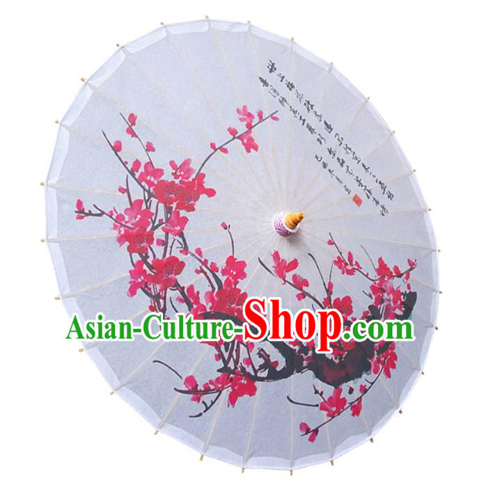 China Traditional Folk Dance Paper Umbrella Hand Painting Plum Blossom White Oil-paper Umbrella Stage Performance Props Umbrellas