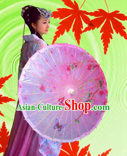 China Traditional Folk Dance Paper Umbrella Hand Painting Butterfly Pink Oil-paper Umbrella Stage Performance Props Umbrellas