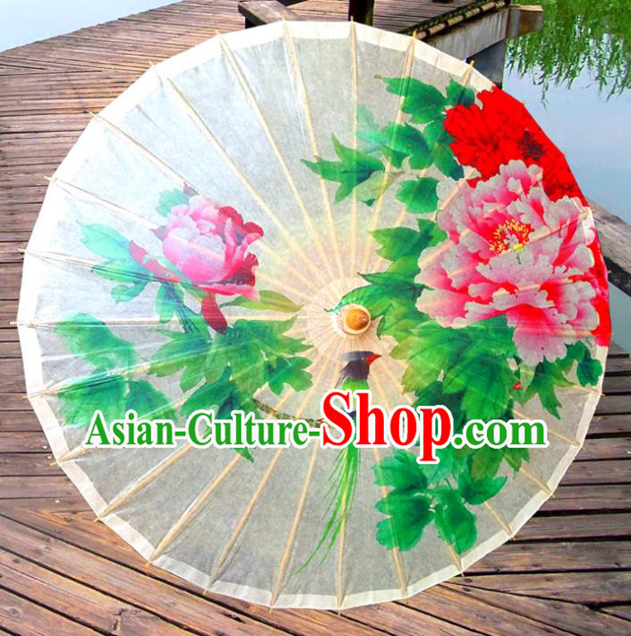 China Traditional Folk Dance Paper Umbrella Hand Painting Peony Oil-paper Umbrella Stage Performance Props Umbrellas