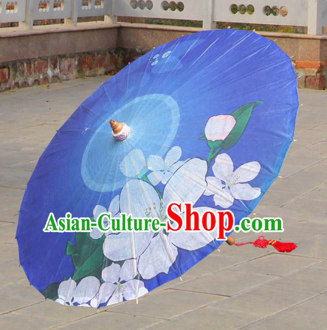 China Traditional Folk Dance Paper Umbrella Hand Painting Flower Blue Oil-paper Umbrella Stage Performance Props Umbrellas