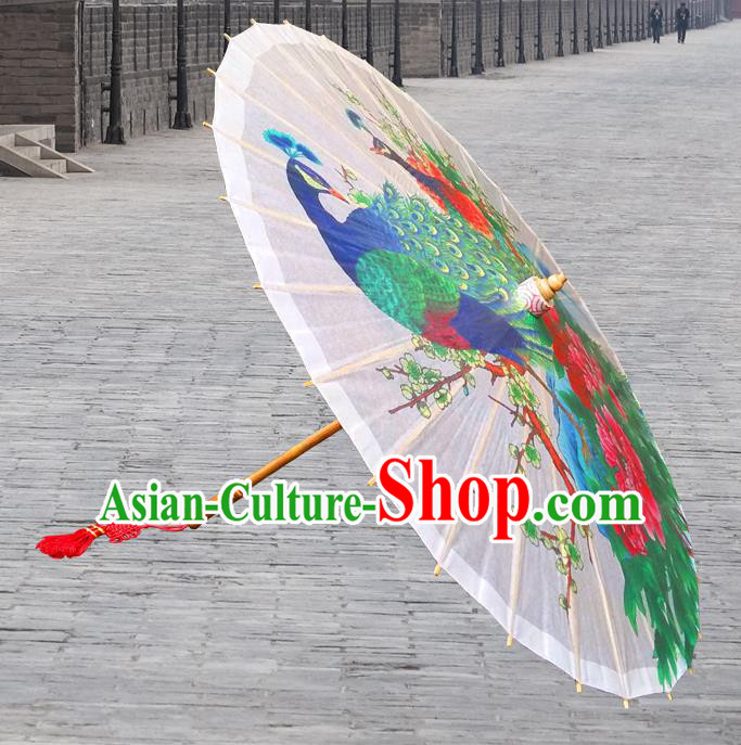China Traditional Folk Dance Paper Umbrella Hand Painting Peony Peacock Oil-paper Umbrella Stage Performance Props Umbrellas