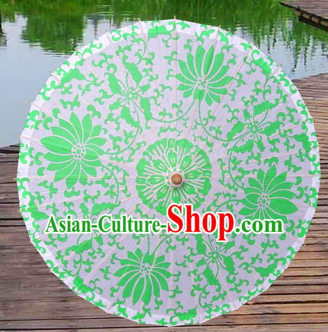 China Traditional Folk Dance Paper Umbrella Hand Painting Lotus Green Oil-paper Umbrella Stage Performance Props Umbrellas