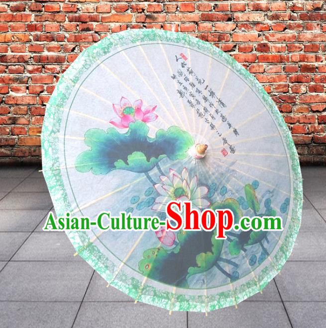 China Traditional Folk Dance Paper Umbrella Hand Painting Lotus Oil-paper Umbrella Stage Performance Props Umbrellas