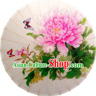 China Traditional Folk Dance Umbrella Hand Painting Peony Oil-paper Umbrella Stage Performance Props Umbrellas