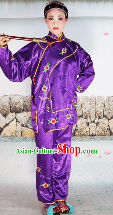 Chinese Beijing Opera Landlord Shiva Embroidered Purple Costume, China Peking Opera Pantaloon Embroidery Clothing