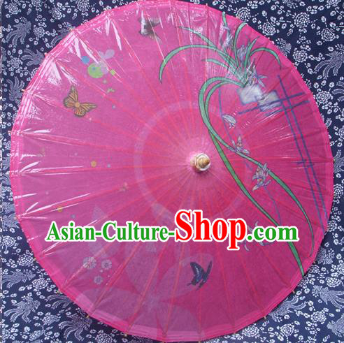Handmade China Traditional Folk Dance Umbrella Stage Performance Props Umbrellas Printing Orchid Pink Oil-paper Umbrella
