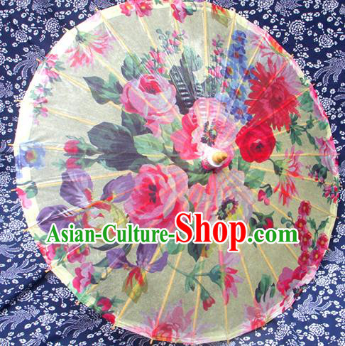 Handmade China Traditional Folk Dance Umbrella Stage Performance Props Umbrellas Printing Flowers Oil-paper Umbrella