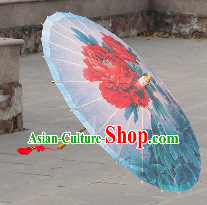 Handmade China Traditional Folk Dance Umbrella Stage Performance Props Umbrellas Printing Peony Flowers Oil-paper Umbrella
