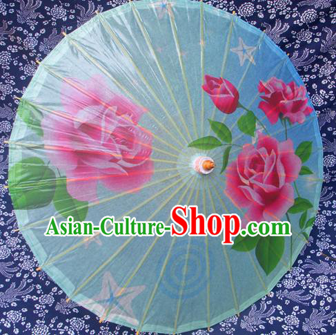 Handmade China Traditional Folk Dance Umbrella Stage Performance Props Umbrellas Printing Rose Blue Oil-paper Umbrella