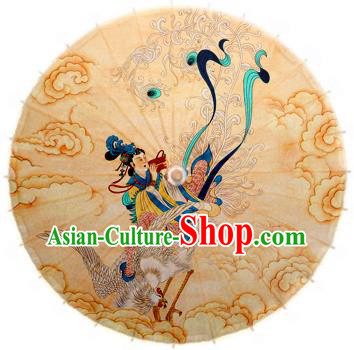 Handmade China Traditional Folk Dance Umbrella Stage Performance Props Umbrellas Printing Apsara Crane Oil-paper Umbrella