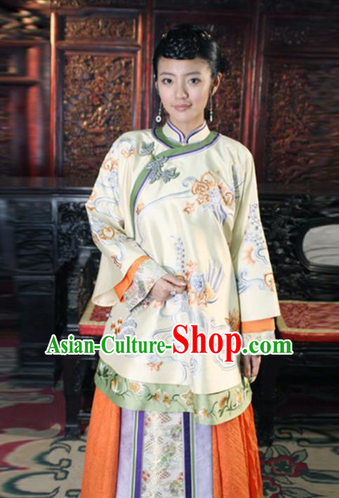 Traditional Chinese Ancient Qing Dynasty Young Mistress Embroidered Yellow Xiuhe Suit Clothing for Women
