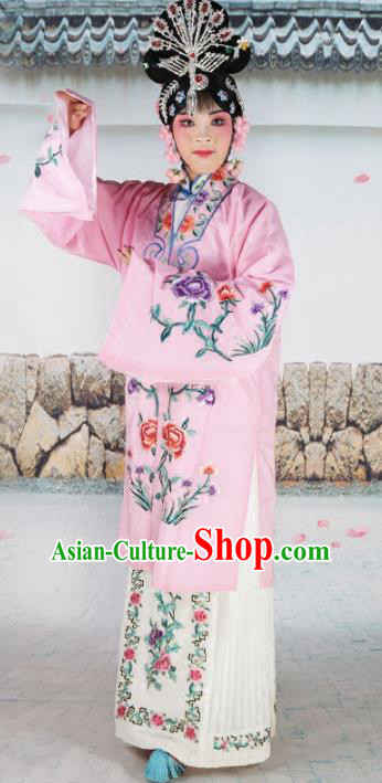 Chinese Beijing Opera Actress Princess Embroidered Pink Costume, China Peking Opera Diva Embroidery Clothing