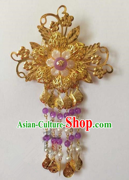 Asian China Handmade Classical Hair Accessories Hairpins Purple Beads Tassel Step Shake