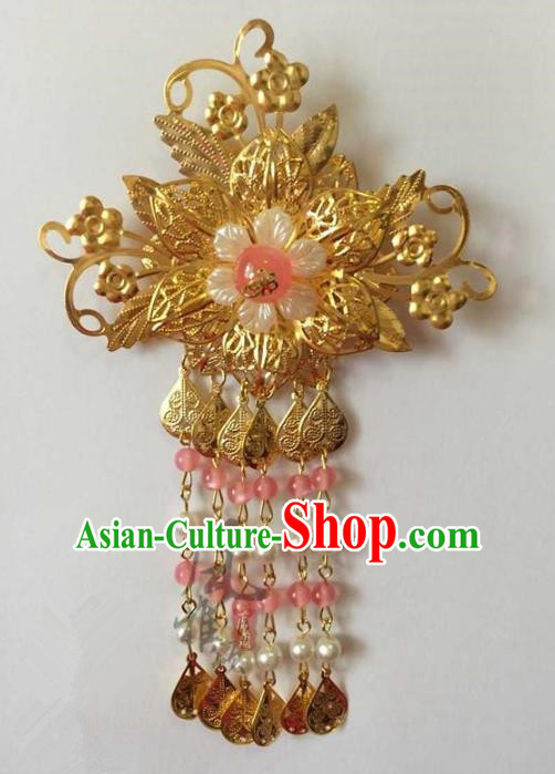 Asian China Handmade Classical Hair Accessories Hairpins Pink Beads Tassel Step Shake