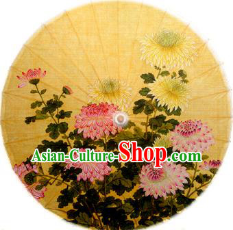 Handmade China Traditional Folk Dance Umbrella Stage Performance Props Umbrellas Printing Chrysanthemum Yellow Oil-paper Umbrella