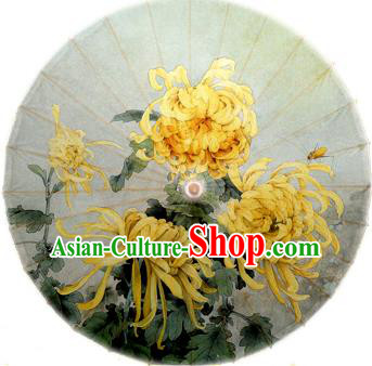 Handmade China Traditional Folk Dance Umbrella Stage Performance Props Umbrellas Printing Yellow Chrysanthemum Oil-paper Umbrella