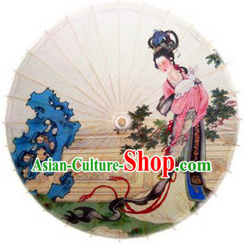 Handmade China Traditional Folk Dance Umbrella Stage Performance Props Umbrellas Printing Moon Fairy Oil-paper Umbrella