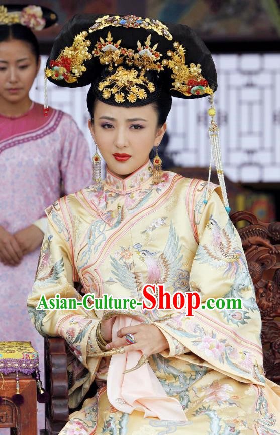 Traditional Chinese Ancient Qing Dynasty Imperial Concubine Delicate Embroidered Mandarin Robe Costume for Women