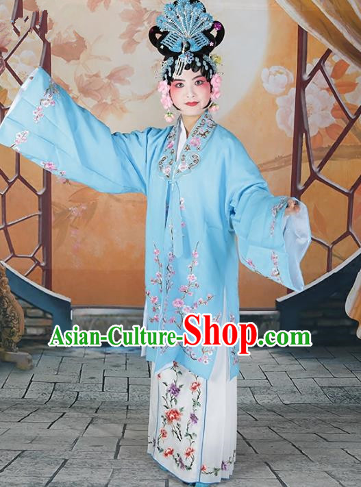 Chinese Beijing Opera Actress Princess Embroidered Blue Costume, China Peking Opera Diva Embroidery Wintersweet Clothing