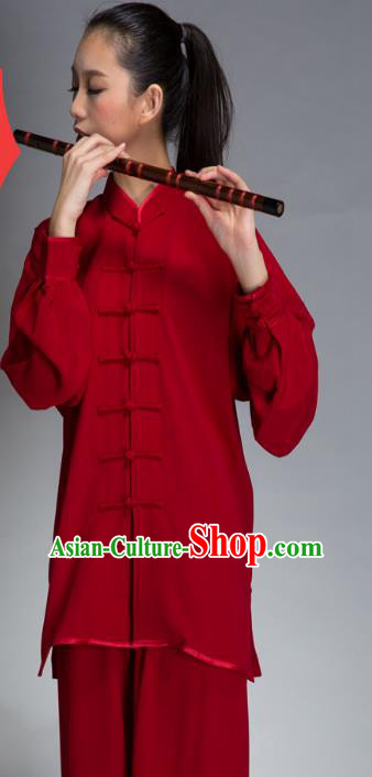 Top Grade Chinese Kung Fu Plated Buttons Red Costume China Martial Arts Training Uniform Tai Ji Wushu Clothing for Women