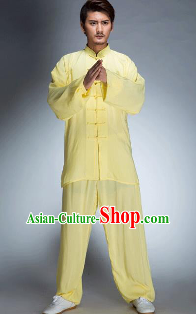 Top Grade Chinese Kung Fu Plated Buttons Costume, China Martial Arts Tai Ji Training Yellow Uniform Gongfu Clothing for Men