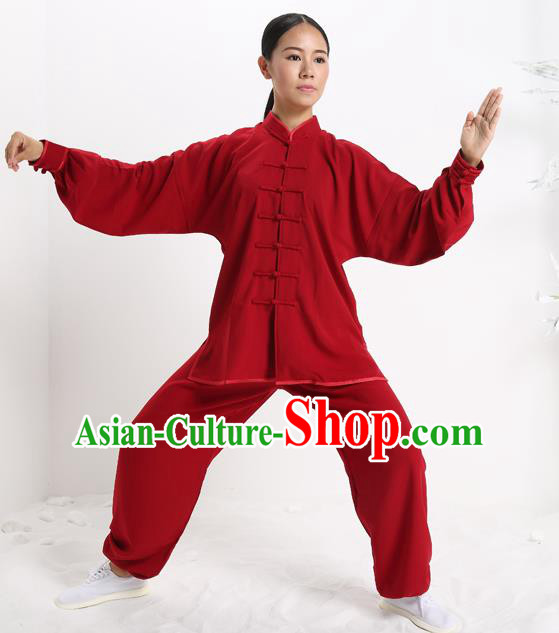 Top Grade Chinese Kung Fu Plated Buttons Costume, China Martial Arts Red Uniform Tai Ji Wushu Clothing for Women
