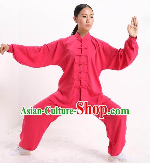 Top Grade Chinese Kung Fu Plated Buttons Costume, China Martial Arts Peach Pink Uniform Tai Ji Wushu Clothing for Women