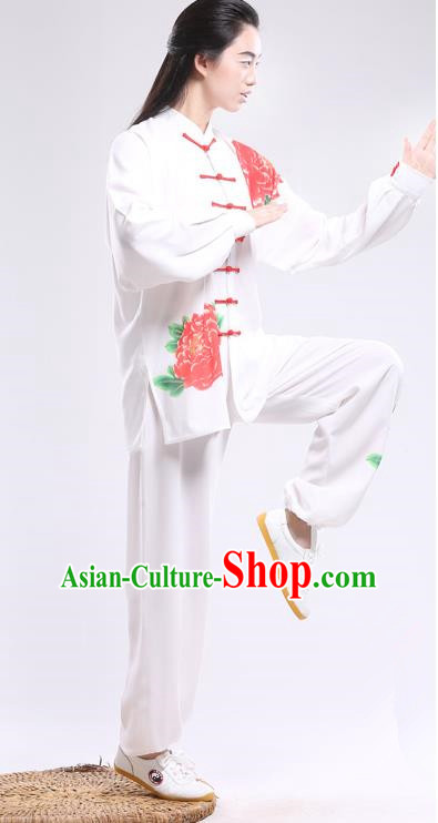 Top Grade Chinese Kung Fu Costume Martial Arts Printing Red Peony Uniform, China Tai Ji Wushu Plated Buttons Clothing for Women