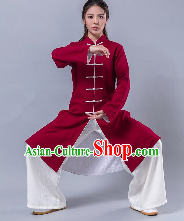 Top Grade Chinese Kung Fu Costume Martial Arts Uniform, China Tai Ji Wushu Plated Buttons Red Robe Clothing for Women