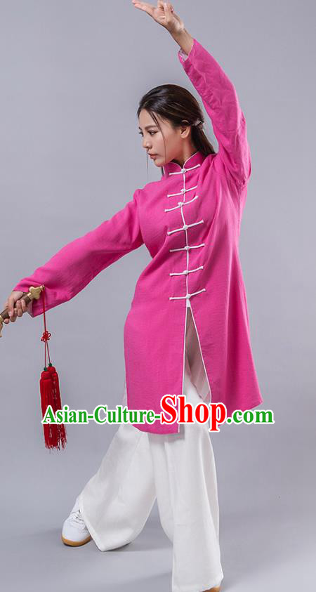 Top Grade Chinese Kung Fu Costume Martial Arts Uniform, China Tai Ji Wushu Plated Buttons Pink Robe Clothing for Women