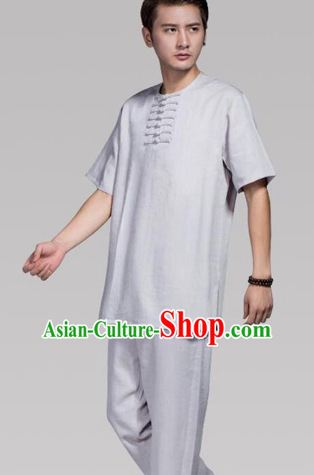 Top Grade Chinese Kung Fu Costume Tai Ji Training Grey Uniform, China Martial Arts Tang Suit Gongfu Clothing for Men