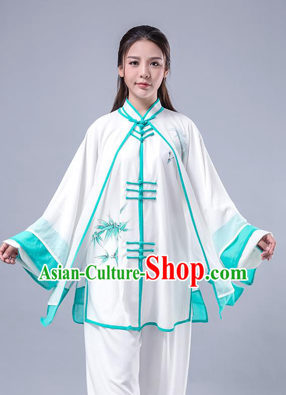 Top Grade Chinese Kung Fu Costume Martial Arts Printing Bamboo Green Uniform, China Tai Ji Wushu Plated Buttons Clothing for Women