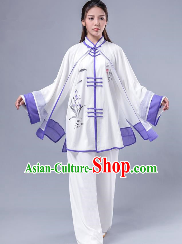 Top Grade Chinese Kung Fu Costume Martial Arts Printing Bamboo Purple Uniform, China Tai Ji Wushu Plated Buttons Clothing for Women