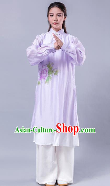 Top Grade Chinese Kung Fu Costume Martial Arts Printing Peony Purple Uniform, China Tai Ji Wushu Plated Buttons Clothing for Women